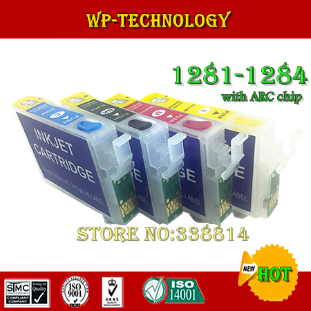 цена на Empty Refill cartridge suit for T1281 T1282 T1283 T1284,suit for Epson S22/SX125/SX130/SX230/SX235W/SX420W/SX425W,with ARC chips