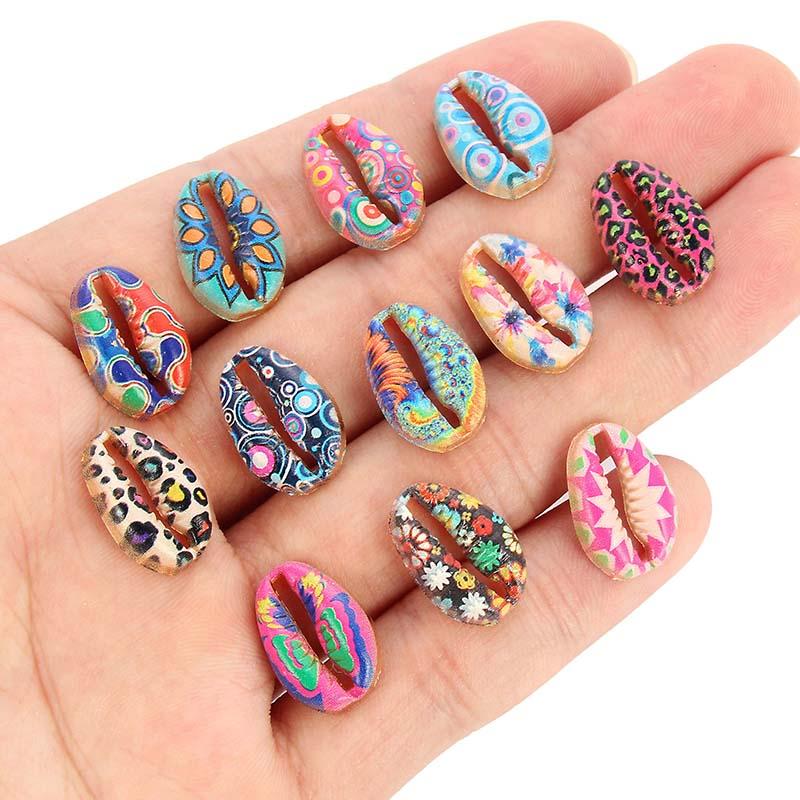 10pcsGold Enamel Leopard Maple Leaf Butterfly Pattern Alloy Cowrie Shell Connector For Women Girls Jewelry DIY Bracelet Accessoy