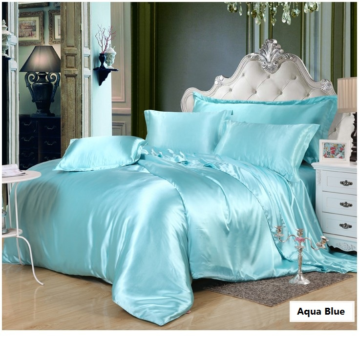 Aliexpress.com : Buy Aqua Silk Bedding Set Green Blue Satin Super King Size  Queen Full Twin Fitted Bed Sheets Quilt Duvet Cover Double Bedspread 5pcs  From ...