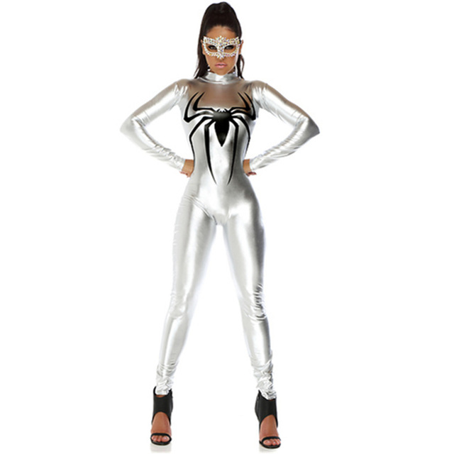 Sexy Hot Women Long Sleeve Spider Batman Silver Tight Costumes Super Hero Adults Fancy Cosplay Halloween Performance Jumpsuits