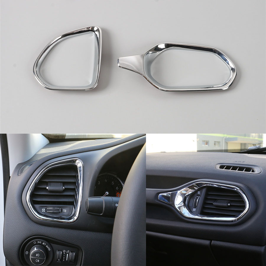 YAQUICKA For Jeep Renegade 2015 2016 Car Dashboard Air Condition Left+Right Vent Outlet Cover Trim Decor Frame Ring 2Pcs/Set ABS new 2pcs female right left vivid foot mannequin jewerly display model art sketch