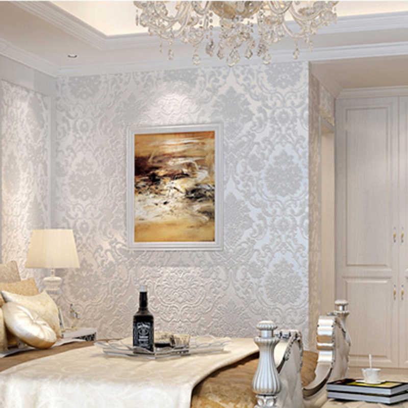 Hot European 3d Embossed Floral Luxury Damask Wallpaper For Living Room Bedroom Tv Background Desktop Wallpaper Wall Decals