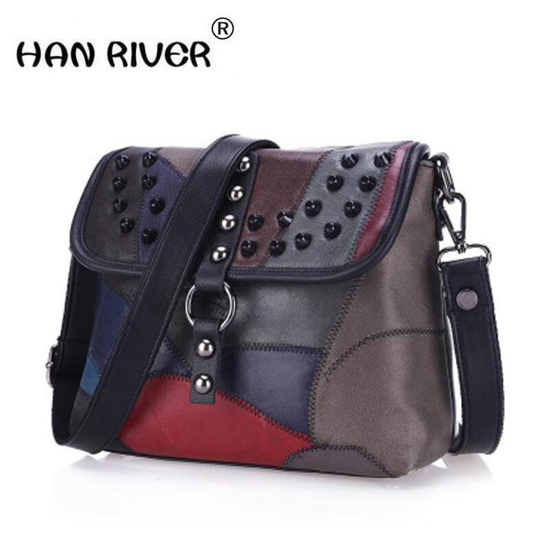 In spring and summer of 2018, the new female bags of European and American fashion suede rivet are spliced with single shoulder spring and summer 2018 new chinese