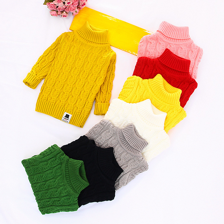 Solid Turtleneck Sweaters for Kids Knitted Pullovers Outwear Draped Pattern Girls Boy Sweaters Warm Knitwear Kids Clothing