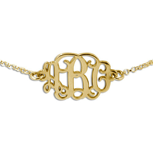Personalized Gold Plated Monogram Initials Bracelet Glitter Letter Charm Customize Made Women Gift