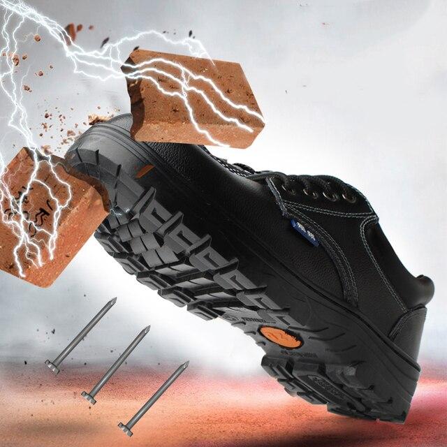 Erkek Güvenlik Ayakkabıları Inşaat Ayakkabı Çelik Ayak iş çizmeleri Rahat Yıkılmaz deri ayakkabı Delinme Dayanıklı