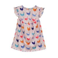 Lovely Summer Style Baby Girl Dress Butterfly Sleeves Multi Color Cute Hens Printing Soft Cotton Fabric