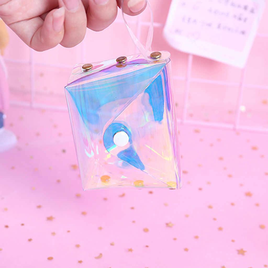 שקוף מטבע ארנק נשים קטן ארנק נשי שינוי ארנקי מיני ילדי של כיס ארנקים מפתח בעל כרטיס PVC לייזר שק # AF6