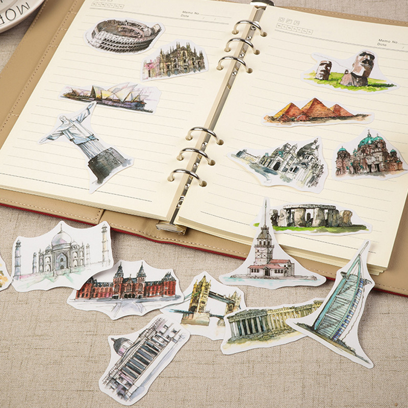 42 Pcs/bag Vintage Famous European Architecture Paper Sticker Child Dress Up Diy Decoration Sticky Album Diary Scrapbooking