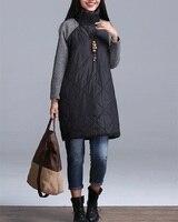 2016 Plus Size Autumn Winter Women Dress M 3XL Turtleneck Casual Loose Patchwork Robe Cotton Soft