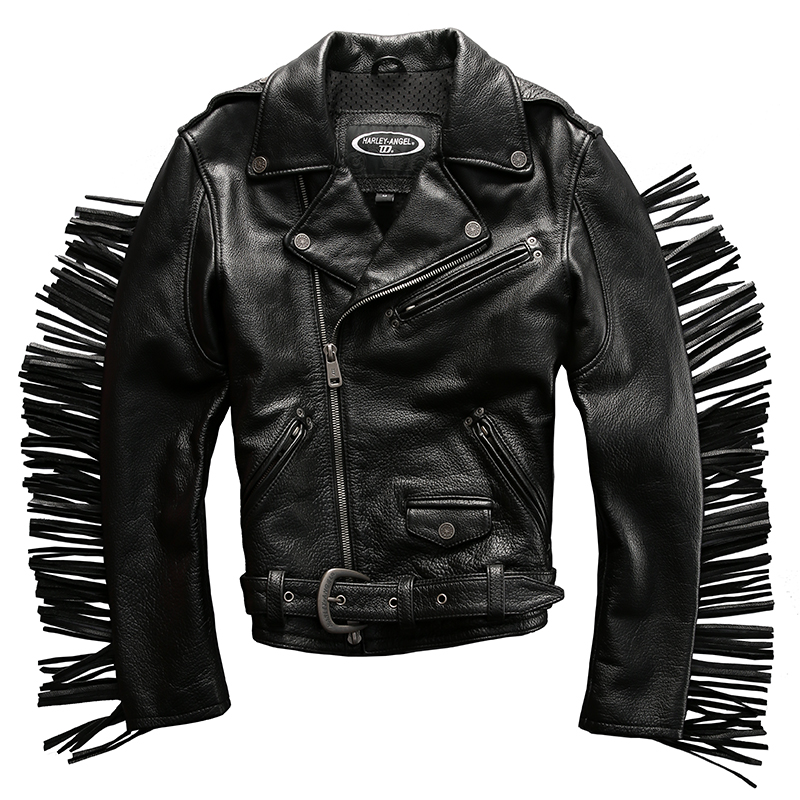Genuine cow leather clothing men's thick cowhide motorcycle rider jacket amazing design slim short rider jacket