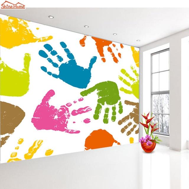 ShineHome Modern Cool Hand Feet Lip Prints Photo Wall Paper Wallpapers 3d For Kids Livingroom