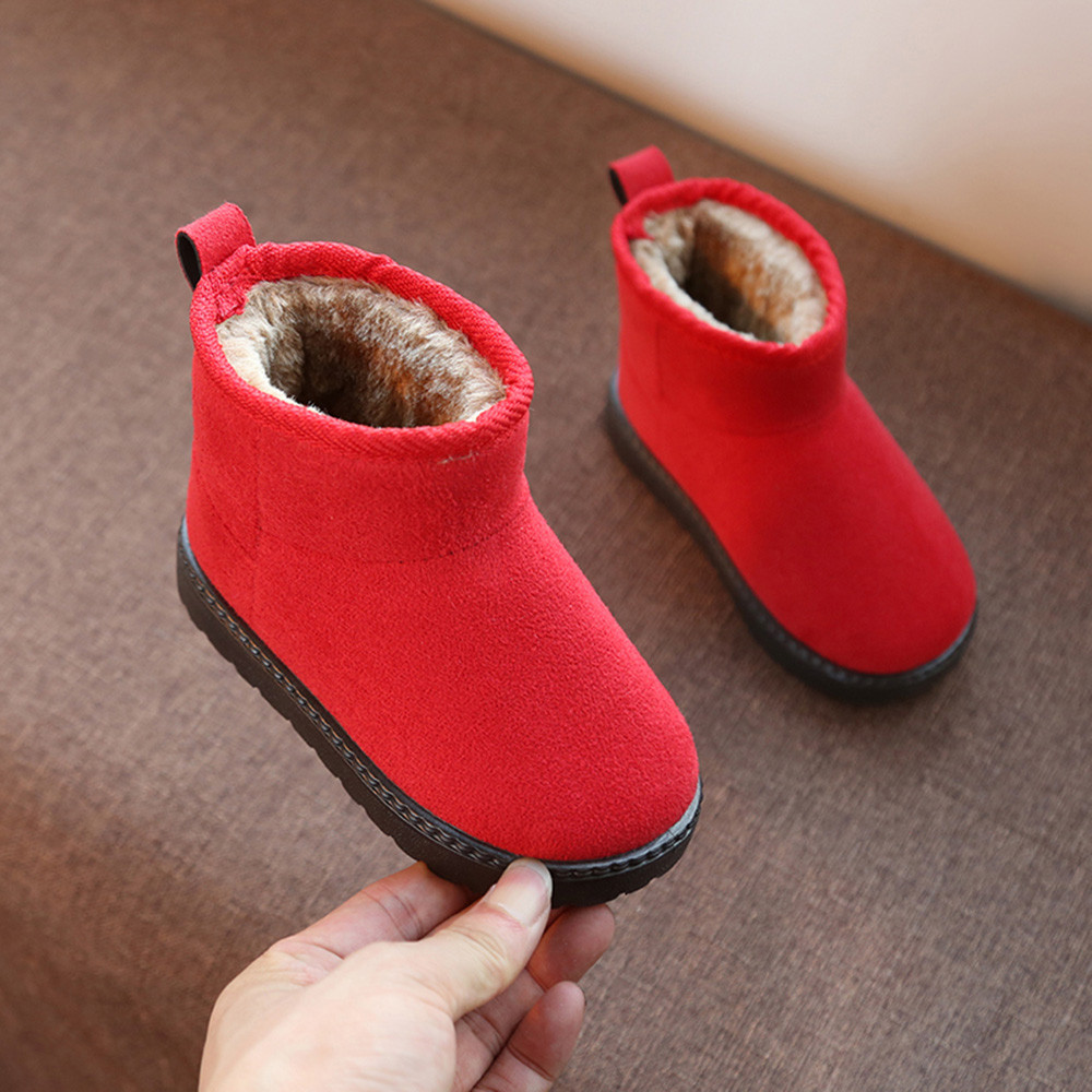 Toddler Children Baby Girl Snow Boots Warm Solid Casual Flock Anti-slip Shoes US