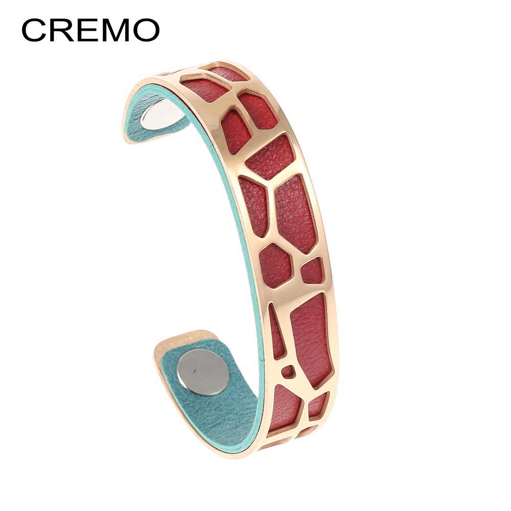 Cremo Giraffe Cuff Bracelets Rose Gold Stainless Steel Bangles Femme Manchette Interchangeable Reversible Leather Band Pulseiras