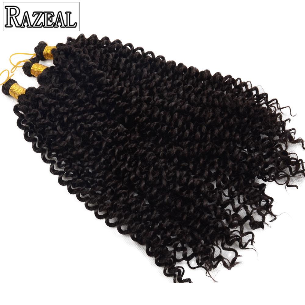 """Razeal 14 """"Pure color 30 Strands Curly Вязание крючком Косы Синтетическое плетение Волос Высокотемпературное волокно"""