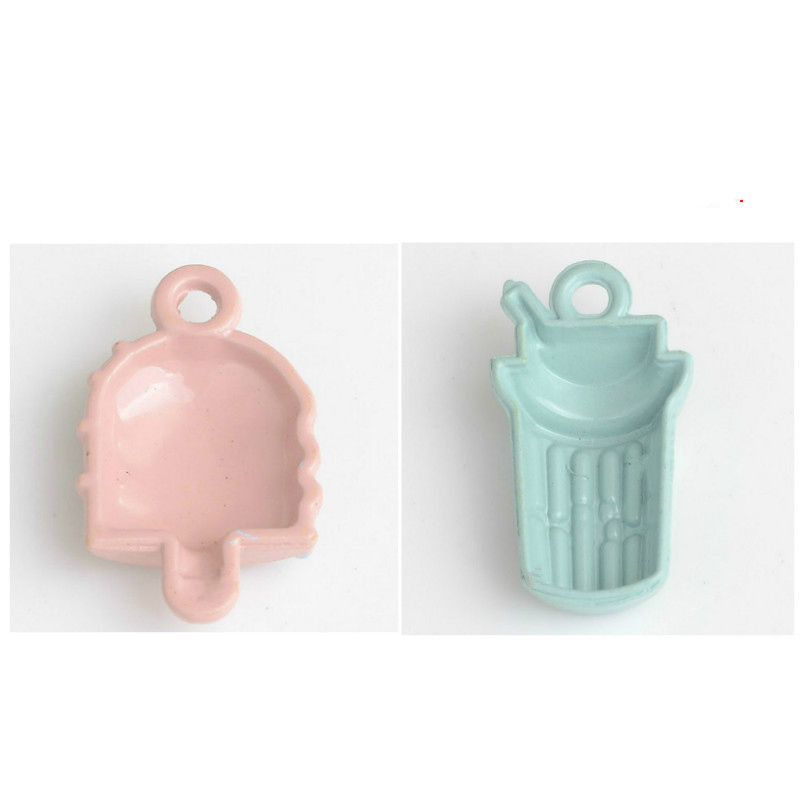 Wholesale Price Enamel Alloy Necklace Pendants DIY Ornament Accessories Coffee Cup Ice Cream Shape Metal Oil Drop Pendant Craft