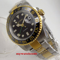 40mm bliger black dial sapphire glass green GMT date automatic mens wrist watch