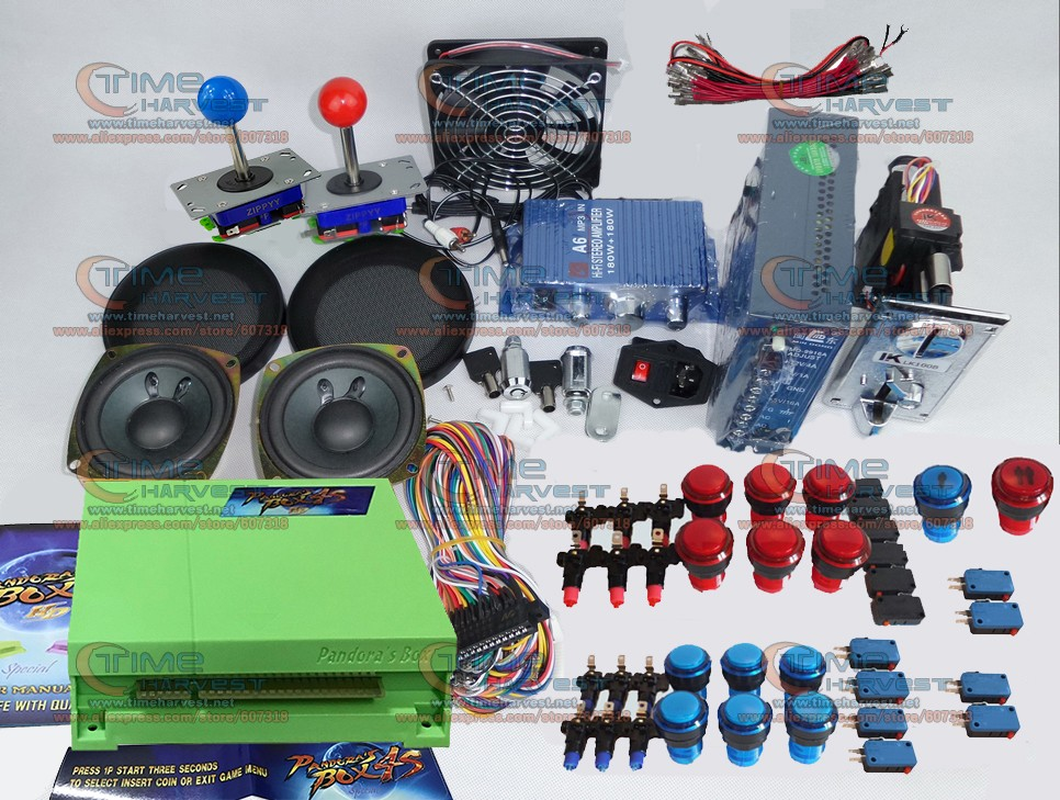 Arcade parts Bundles kit With 680 in 1 Pandora Box 4S Joystick Microswitch LED illuminated Buttons for Arcade Cabinet Machine