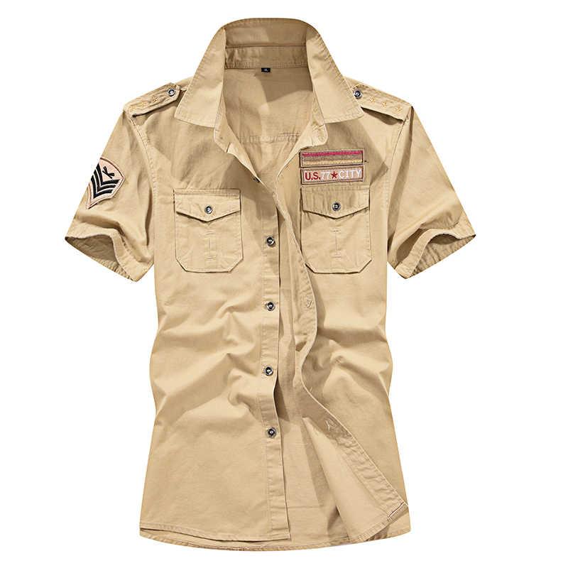 meilleur service a2c94 fe1bb 77City Killer Summer Military Shirts Men Cotton Short Sleeve Casual Slim  Fit Air Force One Shirt Men Plus Size 6XL chemise homme