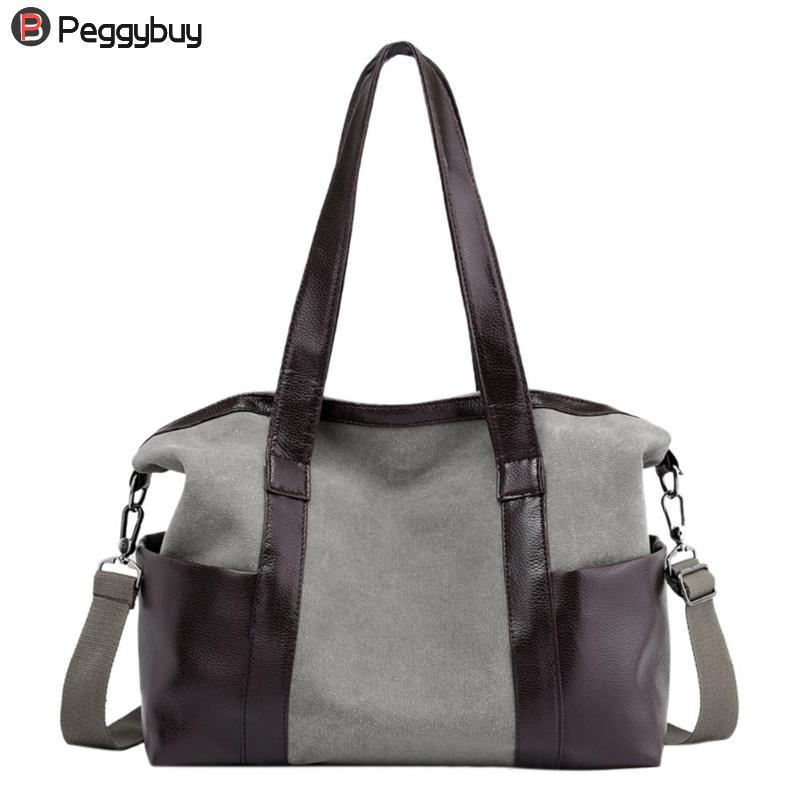 Women/Patchwork Bags Canvas PU Leather Shoulder Bag Travel Shopping Zipper Totes Big Handbags Crossbody Bag