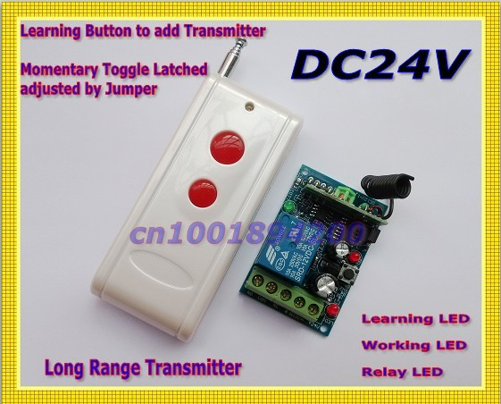 DC24V 1CH RF Remote Control Switch 24v Receiver Transmitter Wireless Controller Remote Control Relay LED  Learn Code  Long Range teak house тумба lombok