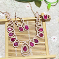 Derongems_Fine Jewelry_Elegant Natural Ruby Waterdrop Jewelry Sets_S925 Silver Real Ruby Wedding Sets_Manufacturer Directly Sale