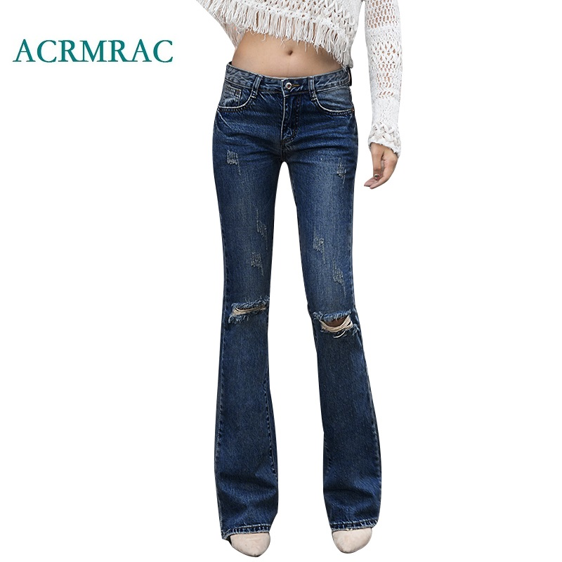 ACRMRAC Women's Jeans 2018 Spring And Autumn Slim Solid Color Blue Middle Waist Holes Panelled Skinny Flare Pants Full Length Je