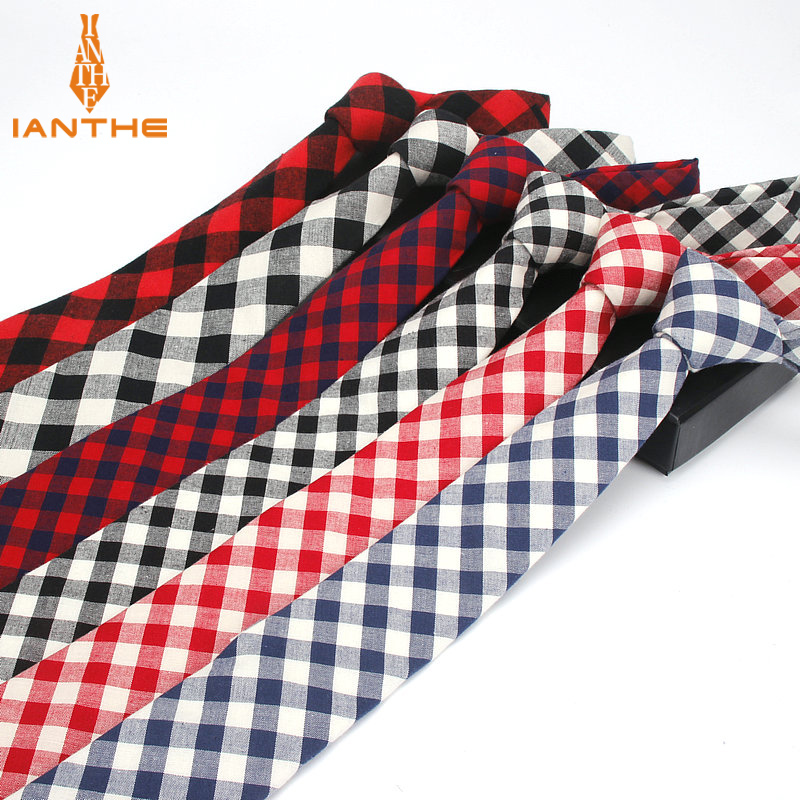 Brand New Men's Suit Tie Wedding Cotton Jacquard Bowknot Ties For Men Fashion Classic Plaid Tie Gravatas Slim 6cm Narrow Necktie
