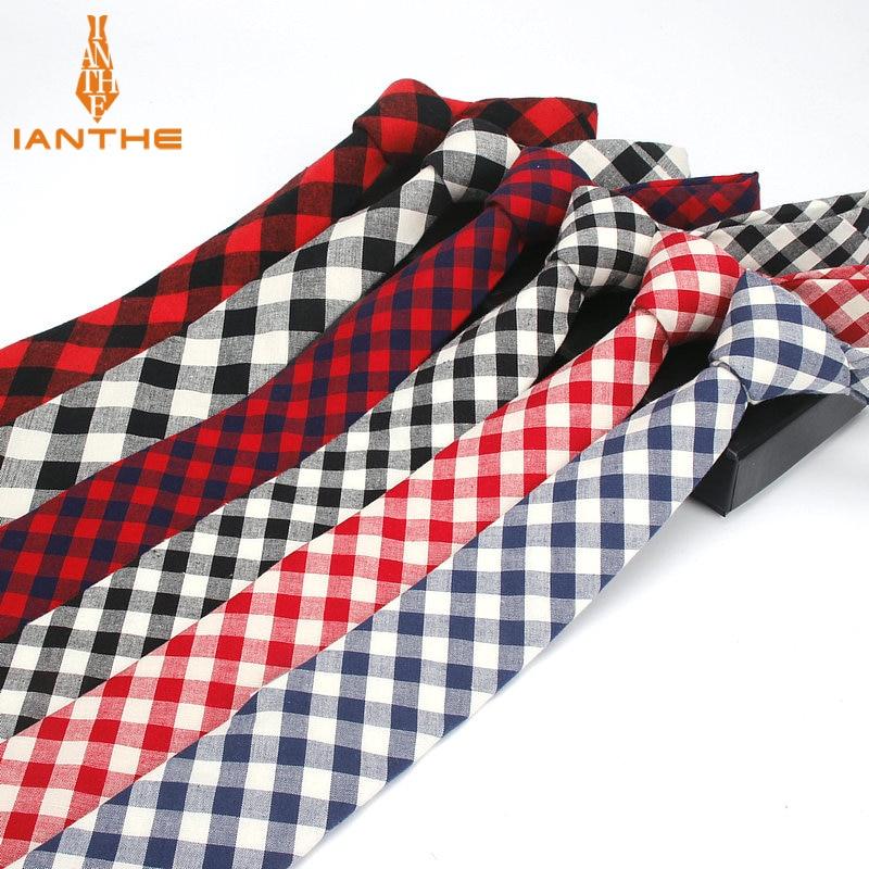 Brand New Men's Suit Tie Wedding Cotton Jacquard Bowknot Ties For Men Fashion Classic Plaid Tie Gravatas Slim 6cm Narrow Necktie