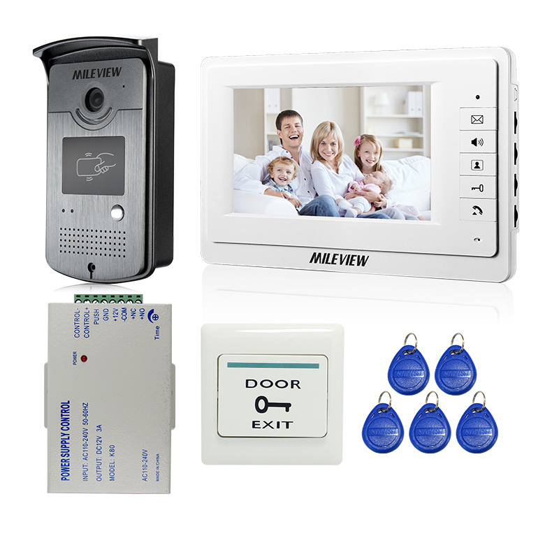 Wired 7 Color Screen Video Door Phone Intercom Entry System + Outdoor RFID Doorbell Camera + 12V Power Control FREE SHIPPING