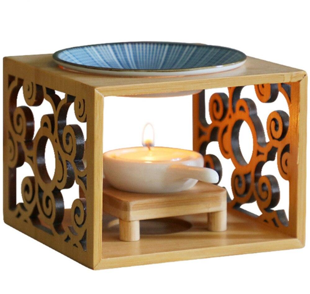 Image 5 - Bamboo Wood Hollow Fragrance Lamp Oil Furnace Aroma Burner Candle Holder Candlestick Vase Romantic Crafts Gifts Home DecorationIncense & Incense Burners   -