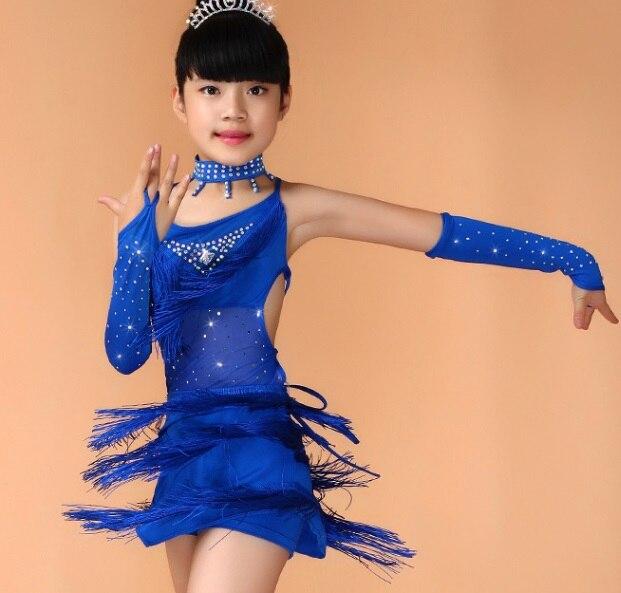 Envío libre Kids niño niñas Latino vestidos lentejuelas danza Salón Tango  Samba salsa Latino Fringe vestido dancewear traje en Latina de La novedad y  de uso ... 42e8b5ee58c