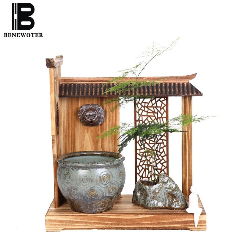 110/220 V Style chinois Zen décoration chanceux Feng Shui fontaine d'eau en céramique artisanat bureau décorations de bureau réservoir de poisson Base cadeau