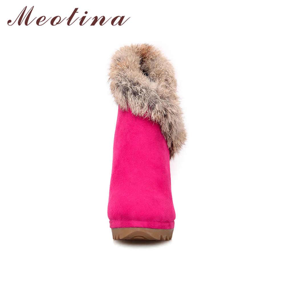 Meotina Çizmeler Kadın yarım çizmeler Kış Platformu Çizmeler Yüksek Topuklu Tavşan Kürk Bayanlar Seksi Ince Topuk El Yapımı Ayakkabı Siyah Yeşil