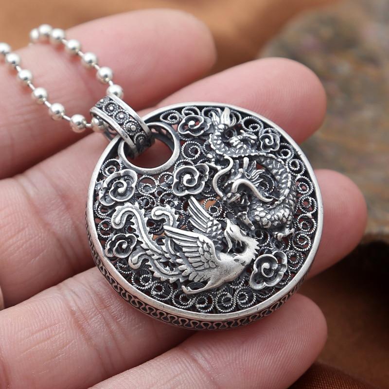 925 pendentif en argent Sterling Phoenix Dragon Animal bonne chance pur S990 solide Thai argent pendentifs pour femmes hommes fabrication de bijoux