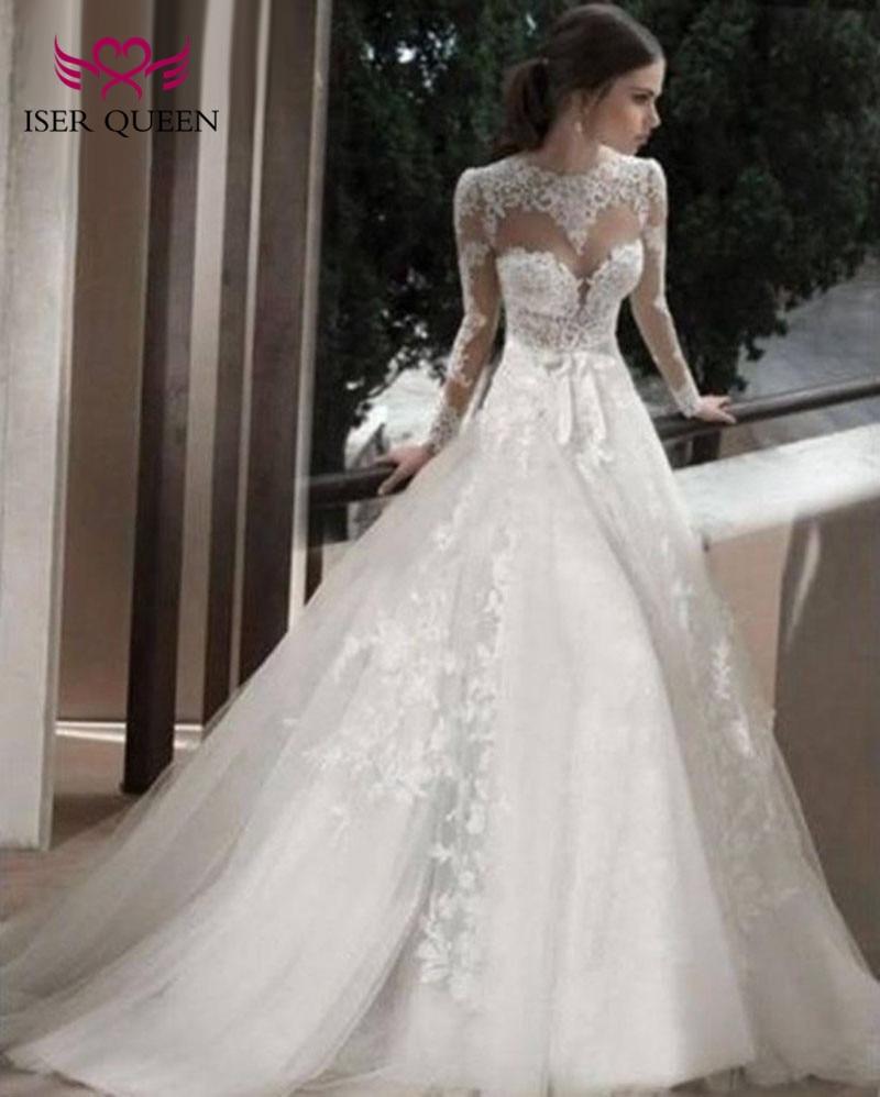 Sheer Neck Illusion Elegant A line Wedding Dress 2019 Beaded Embroidery Long Sleeve Plus Size Bridal Dress Wedding Gown W0136