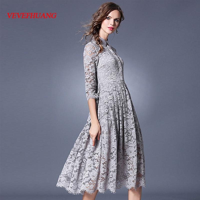 Robe femme gris évider robe dentelle Midi