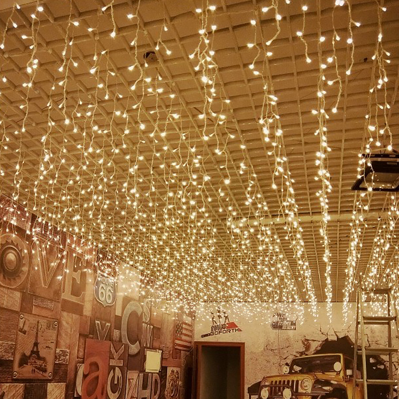 Icicle Light Curtain 6m*1m LED String Christmas Holiday Decoration Wedding Lights Outdoor Lighting Street Indoor Garland Window