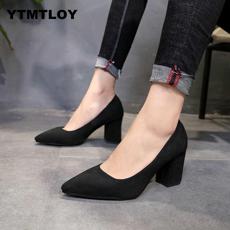 Womens Pumps Plus Size 33-48 Sexy High Heels Shoes Woman Stiletto Female Party Office Lady Wedding Square Heel  Thick Heels