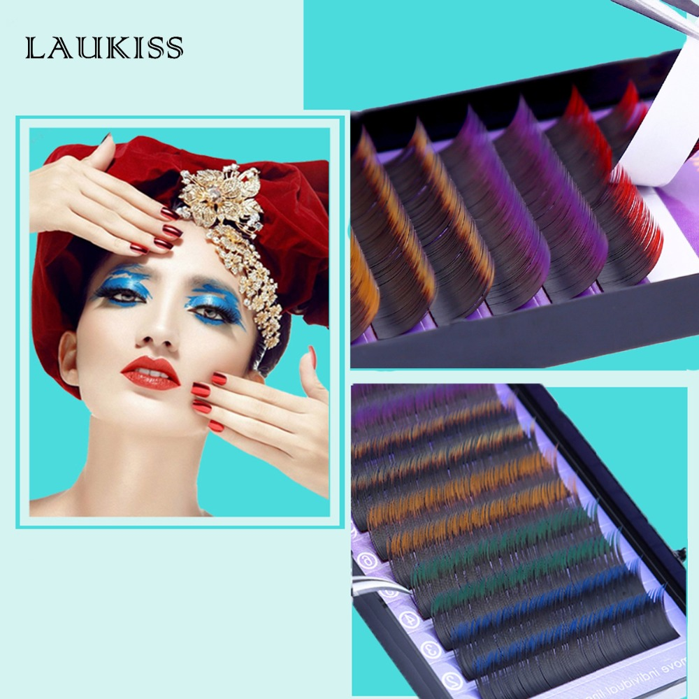 Couleur Croissance des Cils Individuels Arc-En-Cils Extension Cils Pour Bâtiment Cils Naturel Faux Couleur Maquillage Faux cils