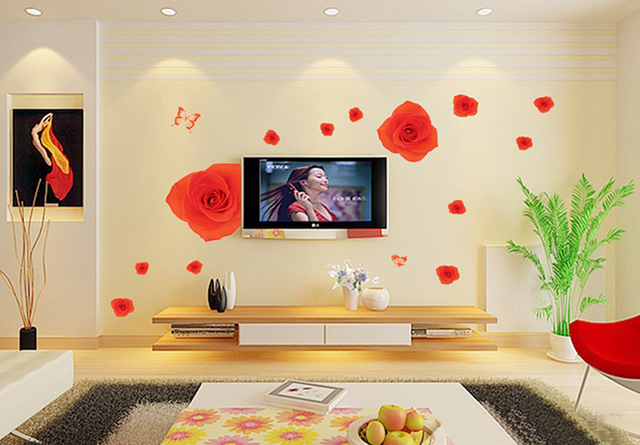 Romantic Red Roses Wall Decals, Living Room Bedroom Removable Wall ...
