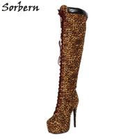 Sorbern Brown Leopard Winter Women Boots Over The Knee High Ladies Booties Platform Heeled Womens Shoes Size 42 Catwalk Fashion