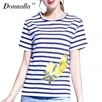 Donnalla Women T Shirts Short Sleeve Women Printed Letters T Shirts Female Retro Fresh Lemon Tops