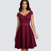 Women Vintage Casual Wiggle A line Dress Summer Elegant Sexy Lace Patchwork Double V Neck Tunic Party Swing Dress HA077