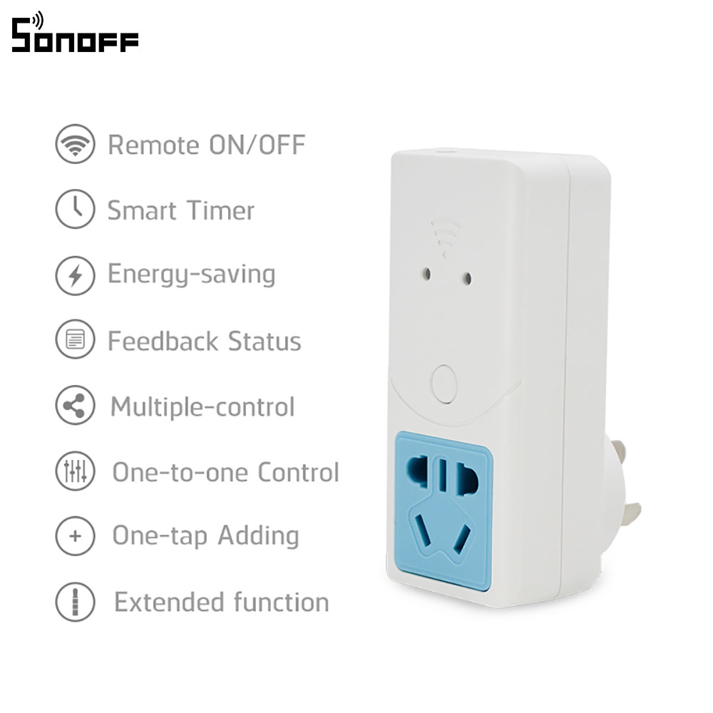 Sonoff S22 Smart Wifi Power Socket AU CN Plug Wireless Outlet Socket Support Temperature Humidity Monitor Sensor Work With Alexa in Home Automation Modules from Consumer Electronics