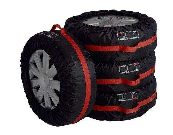 Чехол для автомобильных запасных шин для лета и зимы, полиэстер, авто защита шин, сумки для хранения, черные колеса, аксессуары для седана, внедорожника - Цвет: Small Size Black Red