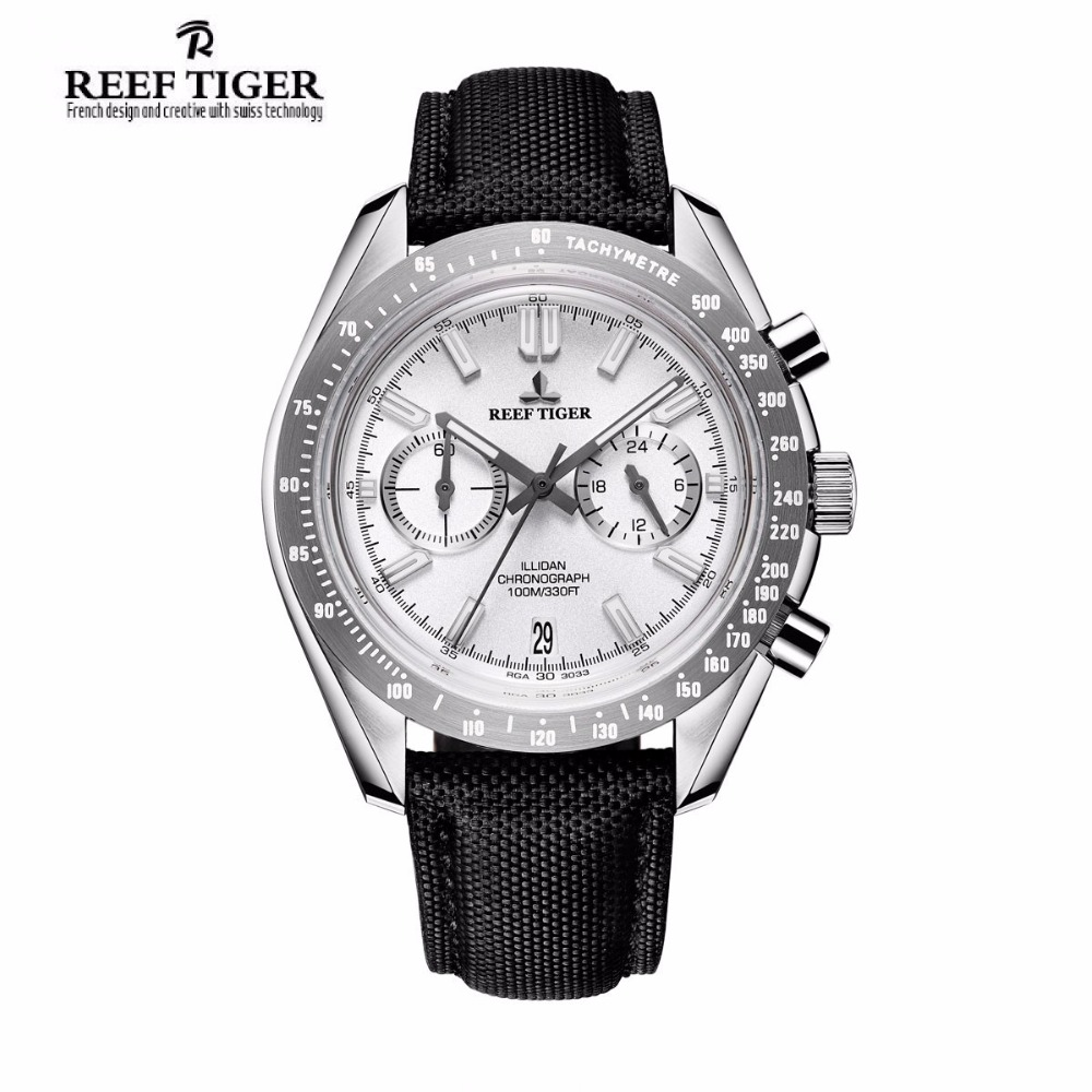 2017 Reef Tiger/RT Mens Designer Sport Watches with Calfskin Nylon Strap 316L Steel Luminous Chronograph Watch RGA3033 2017 reef tiger rt mens designer chronograph watch with date calfskin nylon strap luminous sport watch rga3033