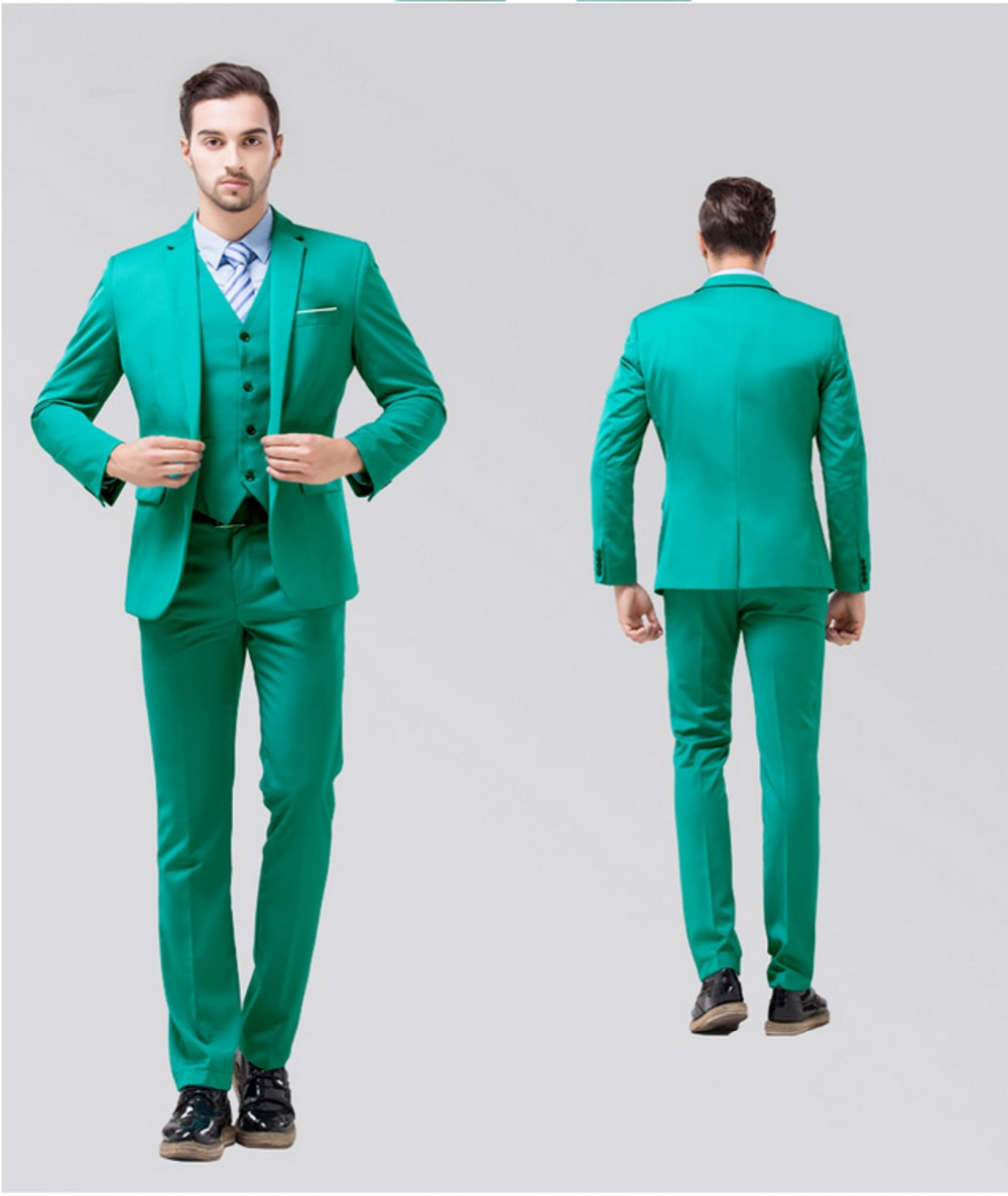 2016 Real Picture Red Blue Green Black White Purple Groom Suits Back ...