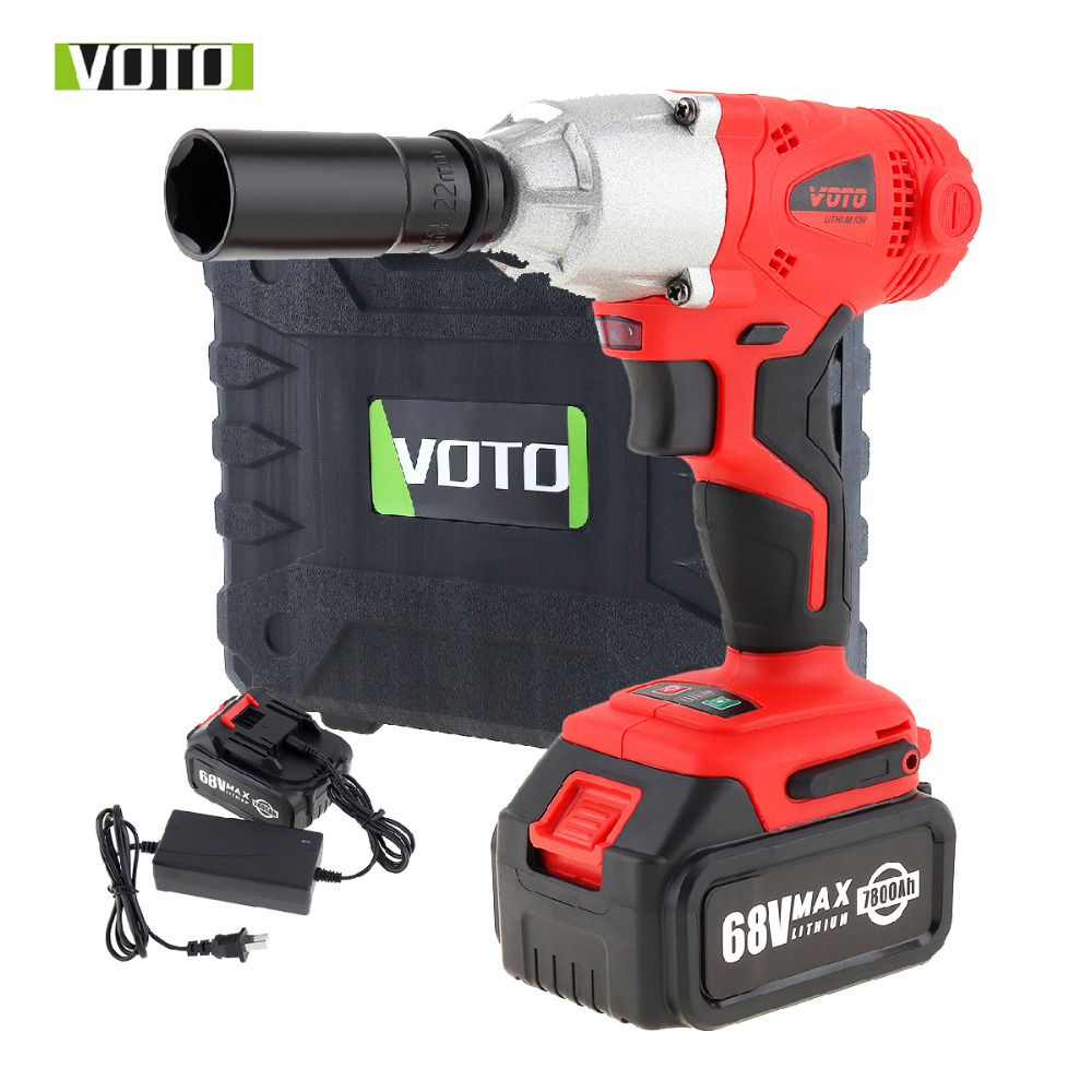 VOTO 68V Brushless Electric Impact Wrench Cordless Rechargeable 7800Ah Lithium Battery Car Socket Electric Impact Drill
