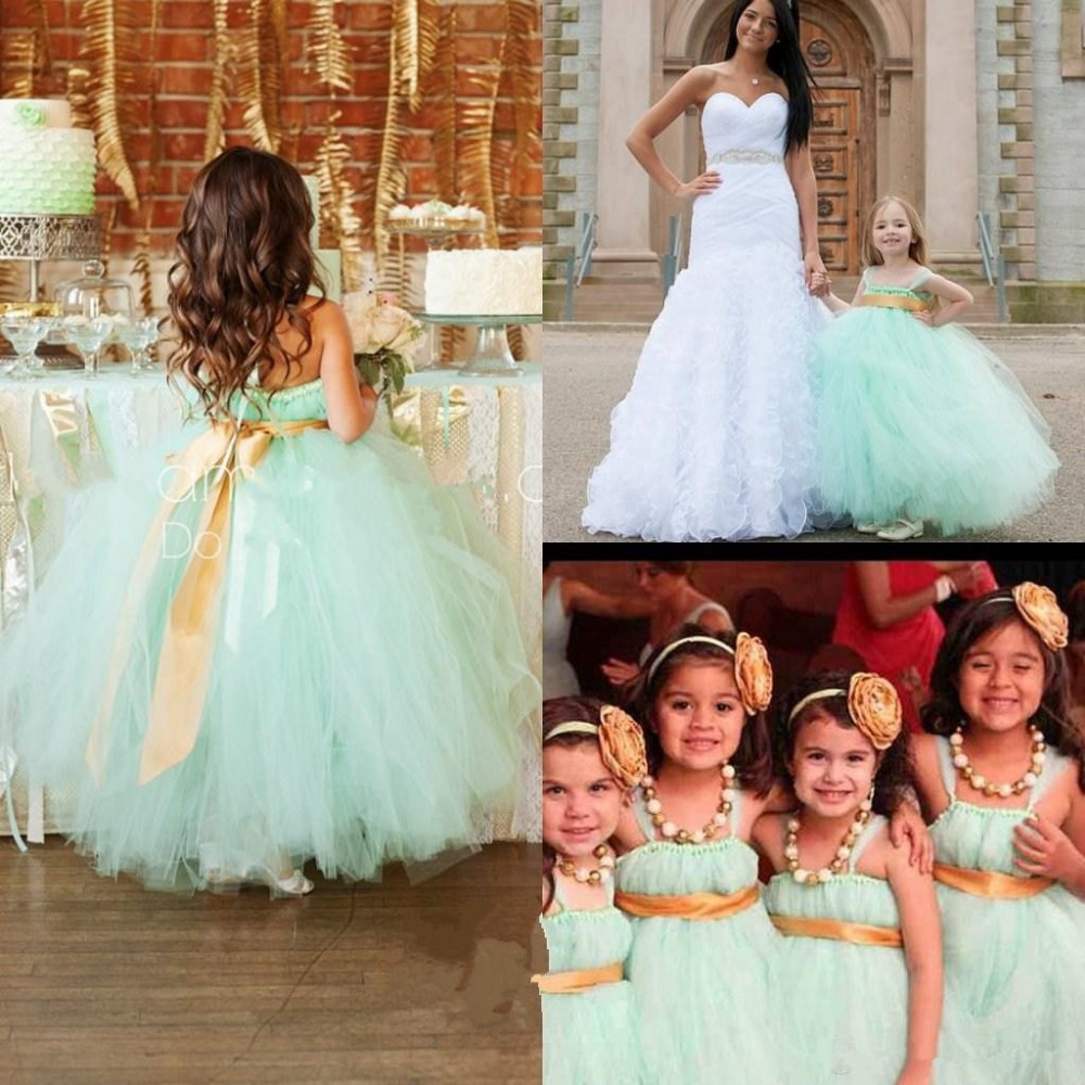 Wedding Mint Flower Girl Dresses aliexpress com buy sweet mint green flower girl dress ball gowns kids evening party dresses with spaghetti straps child fo